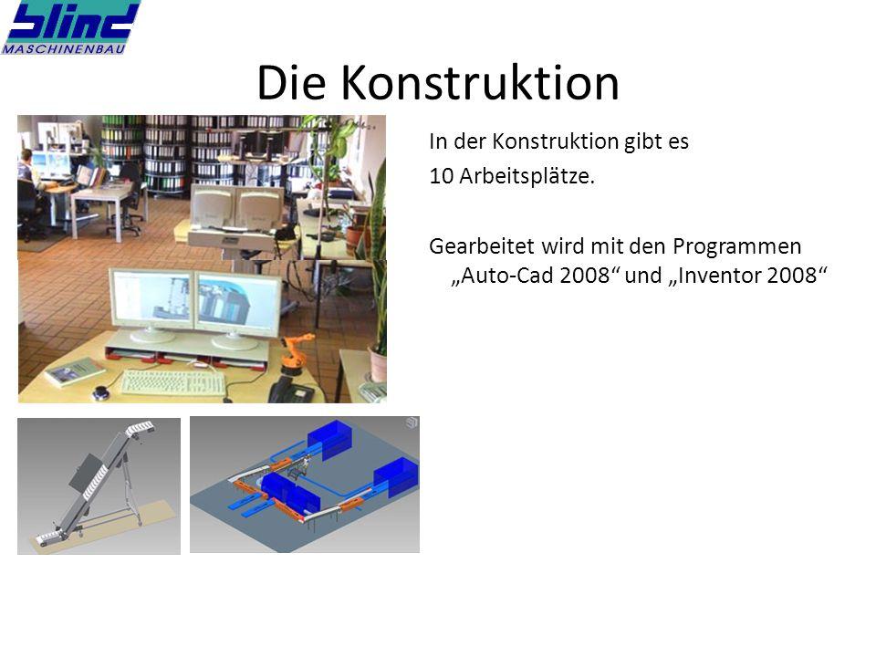 Die Konstruktion In der Konstruktion gibt es 10 Arbeitsplätze.