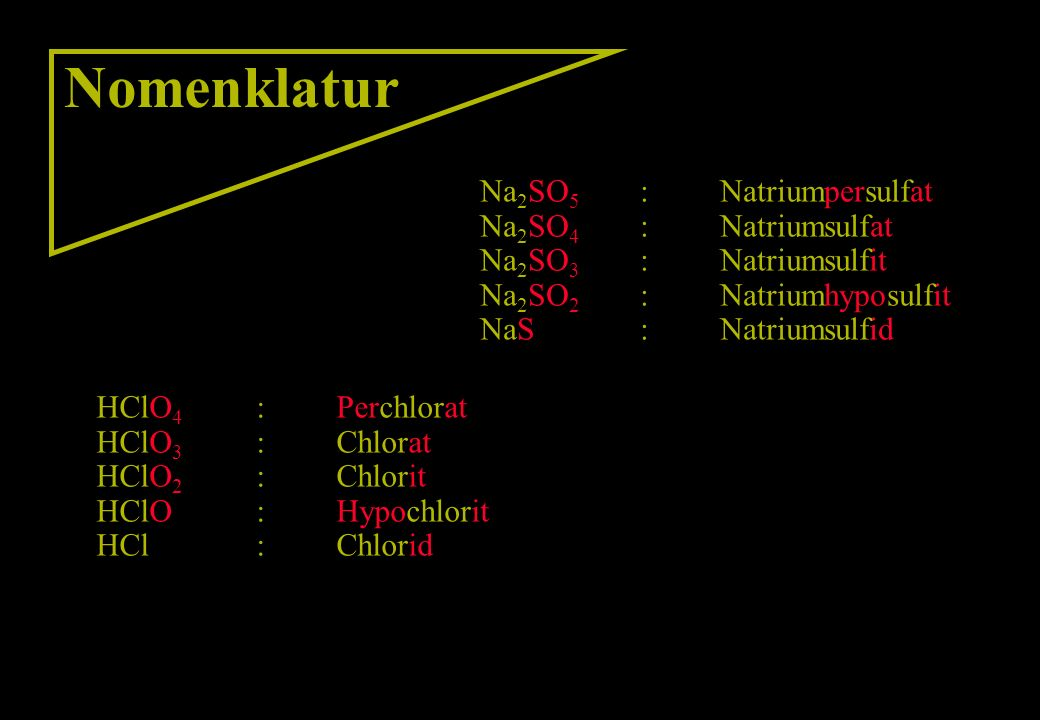 Nomenklatur Na2SO5 : Natriumpersulfat Na2SO4 : Natriumsulfat