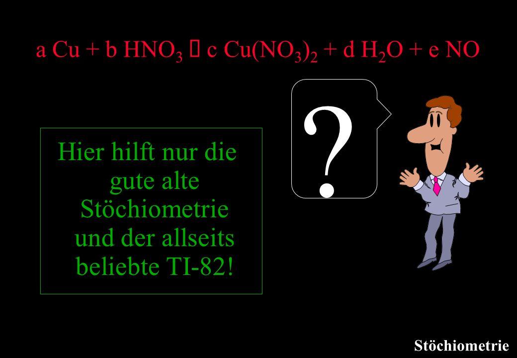a Cu + b HNO3 à c Cu(NO3)2 + d H2O + e NO