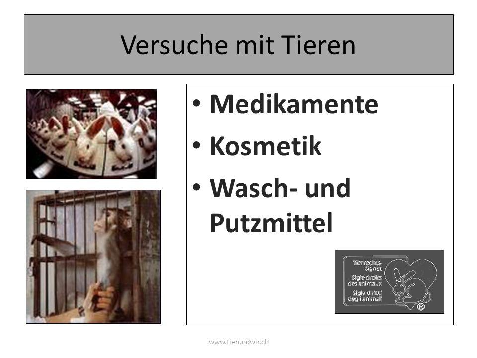 Versuche mit Tieren Medikamente Kosmetik Wasch- und Putzmittel