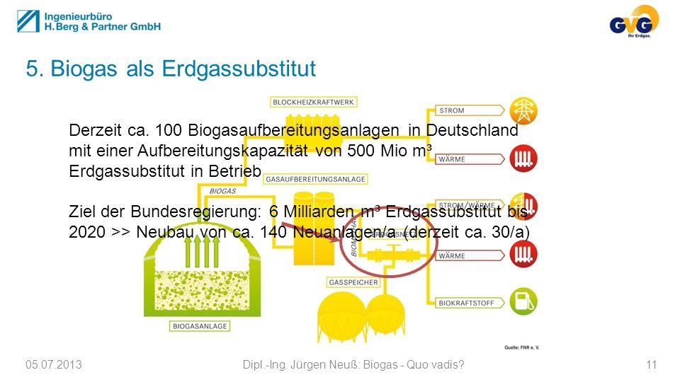 5. Biogas als Erdgassubstitut