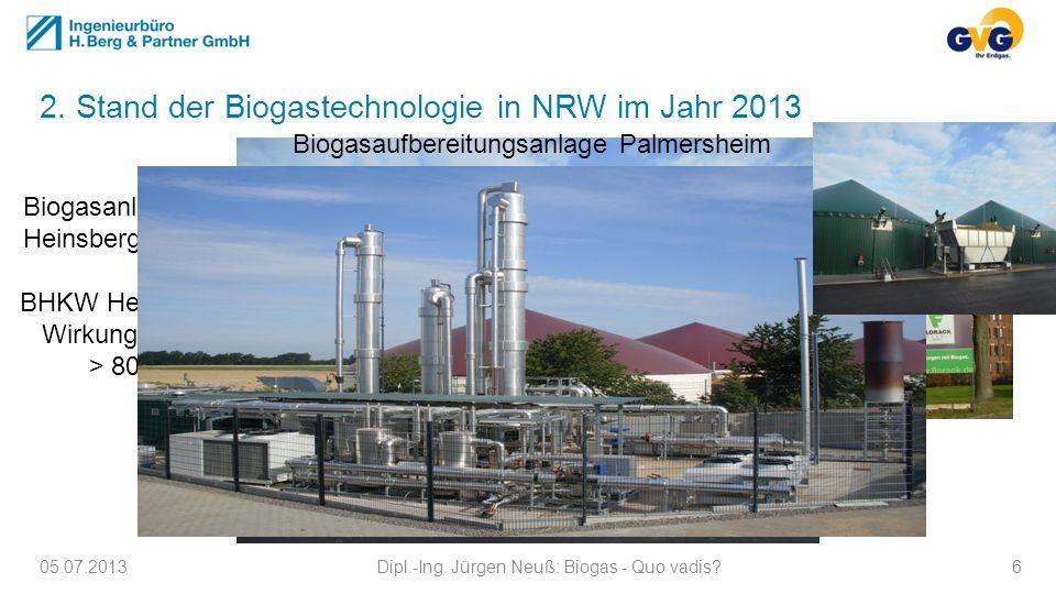 2. Stand der Biogastechnologie in NRW im Jahr 2013