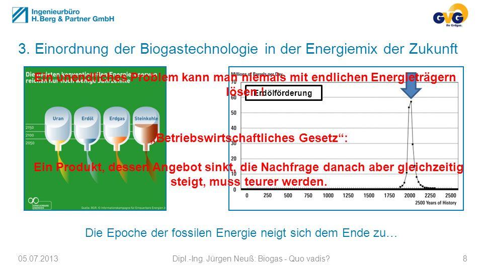 3. Einordnung der Biogastechnologie in der Energiemix der Zukunft