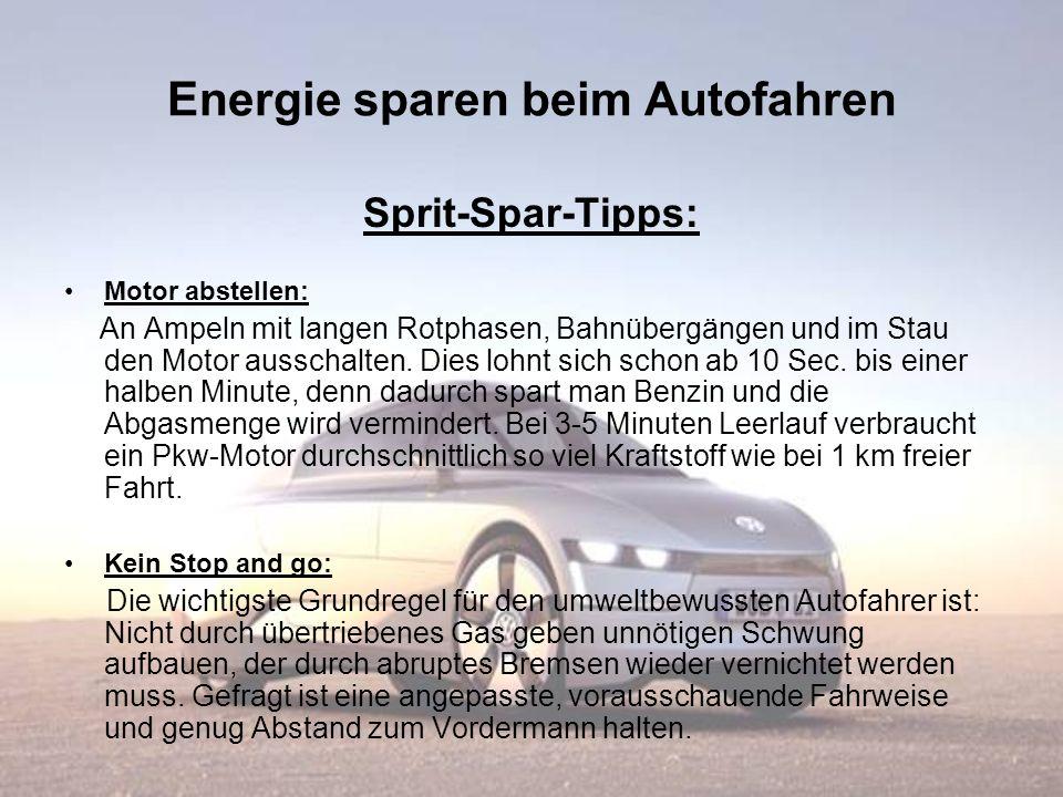 Energie sparen beim Autofahren