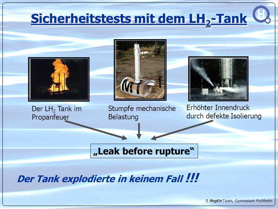 Sicherheitstests mit dem LH2-Tank