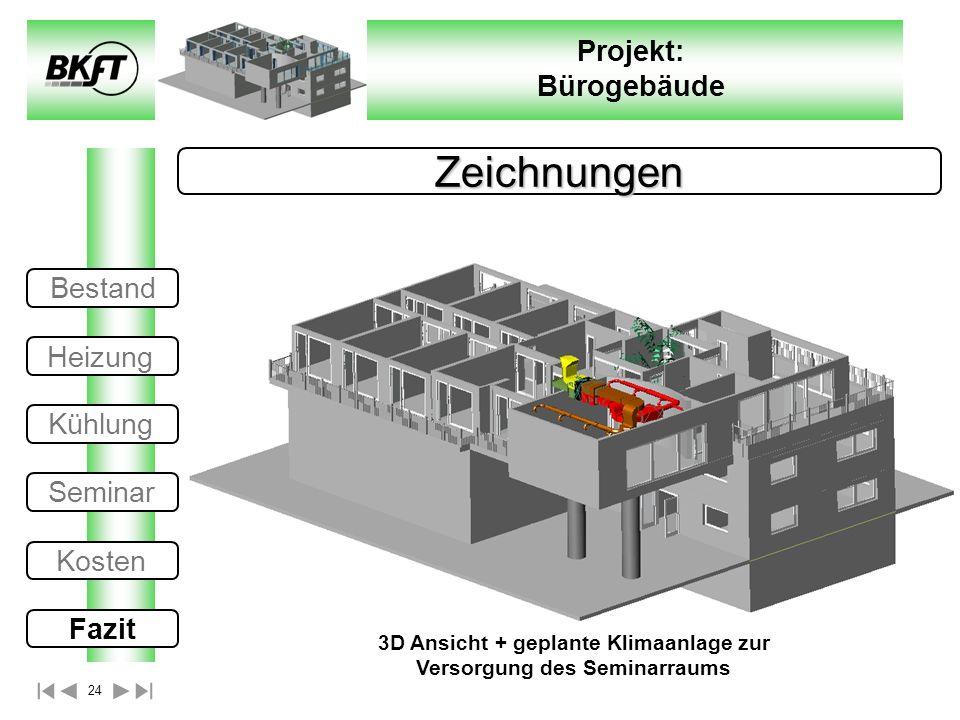 3D Ansicht + geplante Klimaanlage zur Versorgung des Seminarraums