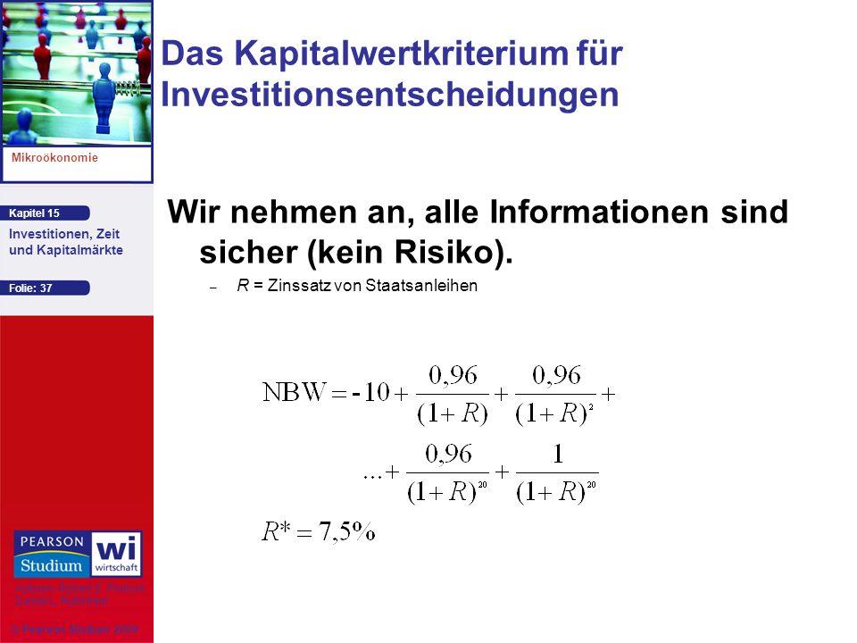 Das Kapitalwertkriterium für Investitionsentscheidungen