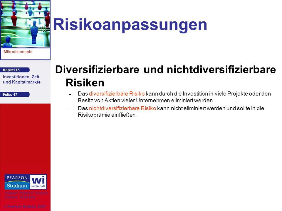 Risikoanpassungen Diversifizierbare und nichtdiversifizierbare Risiken