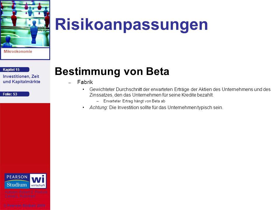 Risikoanpassungen Bestimmung von Beta Fabrik