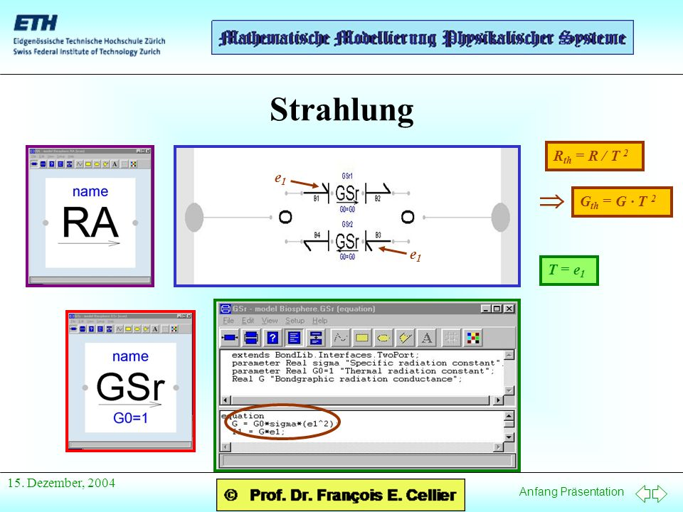 Strahlung Rth = R / T 2 e1 T = e1  Gth = G · T 2 15. Dezember, 2004