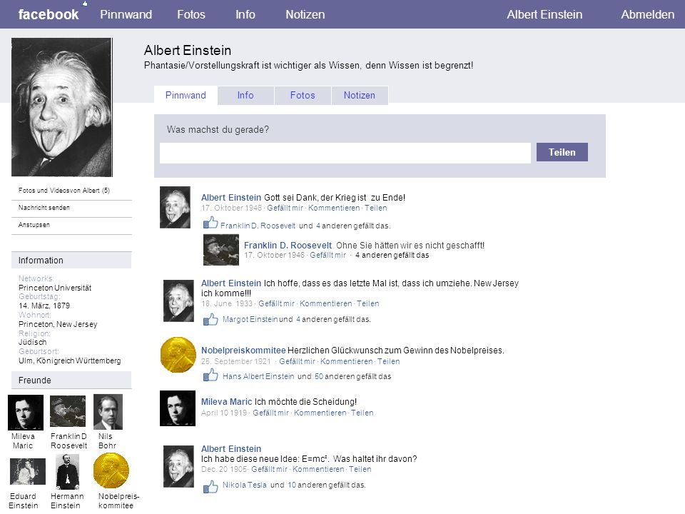 facebook Albert Einstein Pinnwand Fotos Info Notizen Albert Einstein