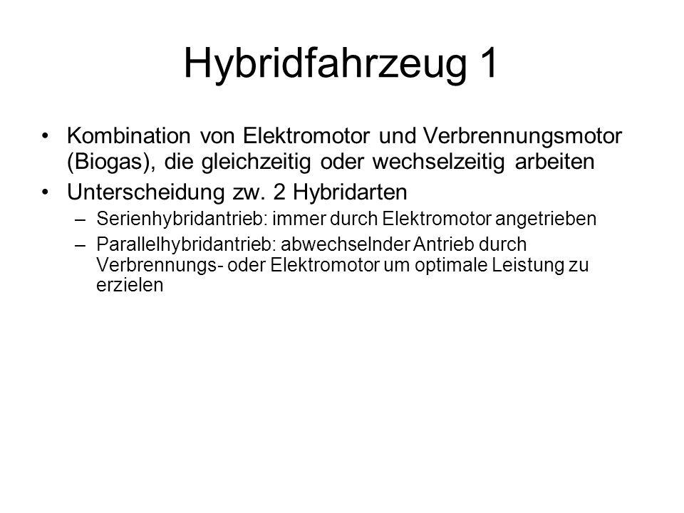 Hybridfahrzeug 1 Kombination von Elektromotor und Verbrennungsmotor (Biogas), die gleichzeitig oder wechselzeitig arbeiten.