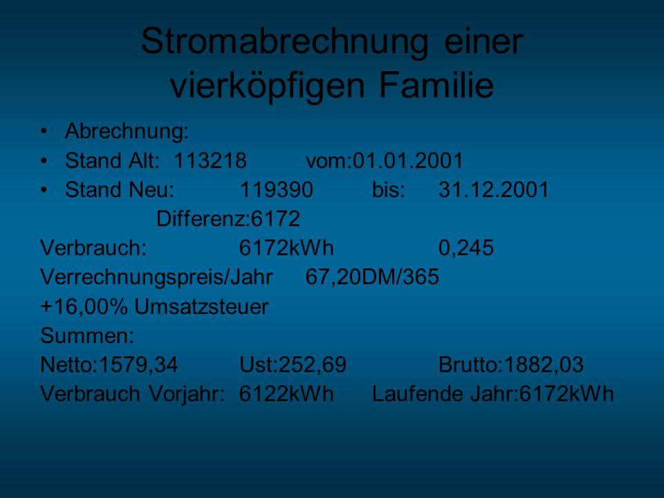 Stromabrechnung einer vierköpfigen Familie