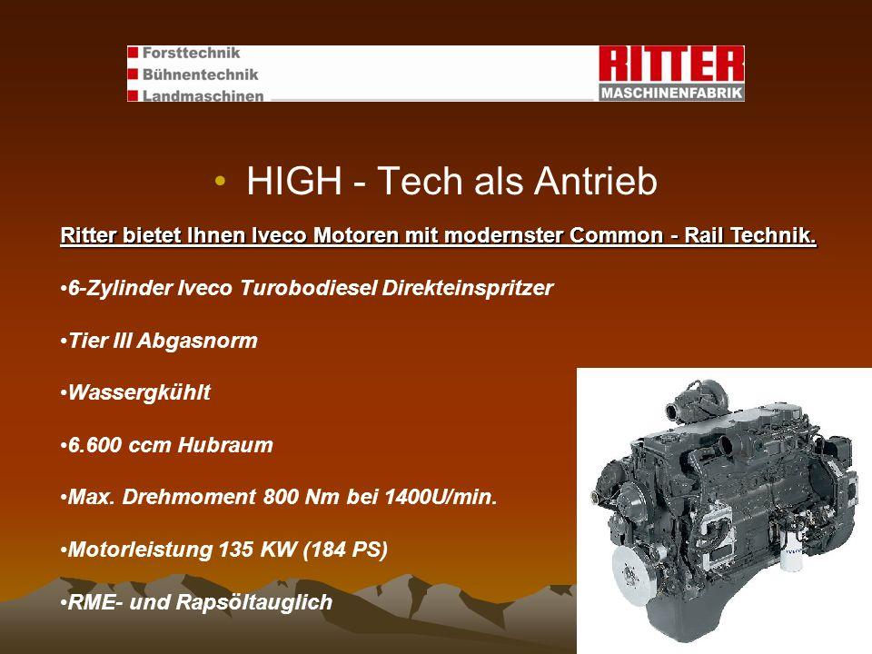 HIGH - Tech als Antrieb Ritter bietet Ihnen Iveco Motoren mit modernster Common - Rail Technik. 6-Zylinder Iveco Turobodiesel Direkteinspritzer.