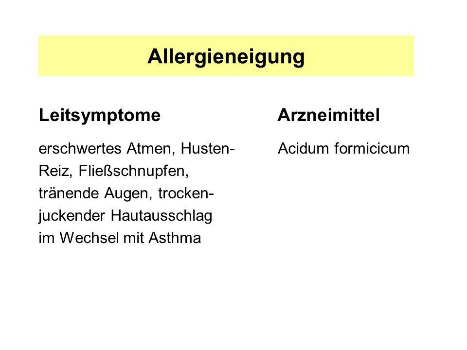 Allergieneigung Leitsymptome Arzneimittel