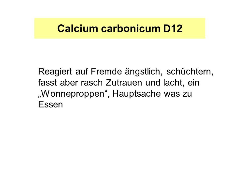 """Calcium carbonicum D12 Reagiert auf Fremde ängstlich, schüchtern, fasst aber rasch Zutrauen und lacht, ein """"Wonneproppen , Hauptsache was zu Essen."""