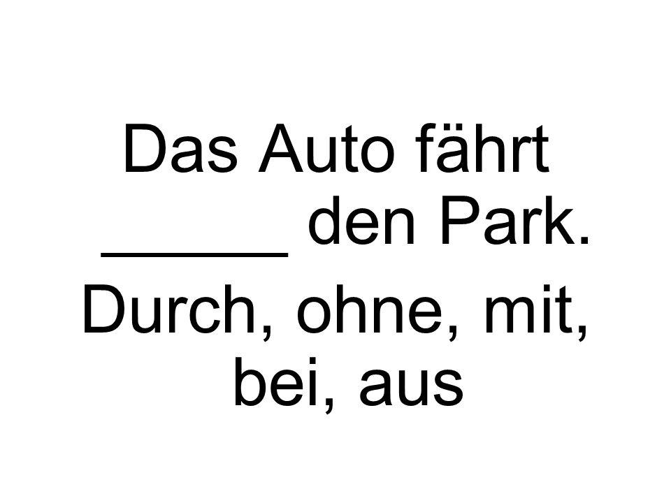 Das Auto fährt _____ den Park.