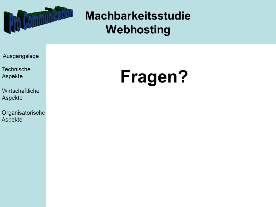 Machbarkeitsstudie Webhosting