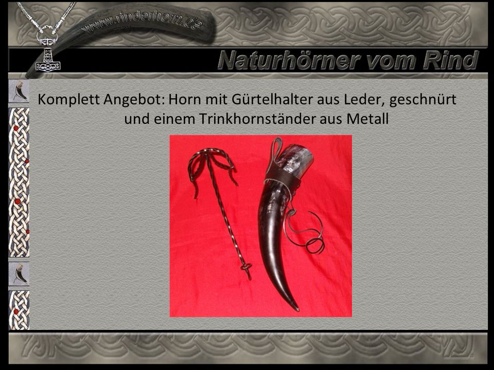 Komplett Angebot: Horn mit Gürtelhalter aus Leder, geschnürt und einem Trinkhornständer aus Metall
