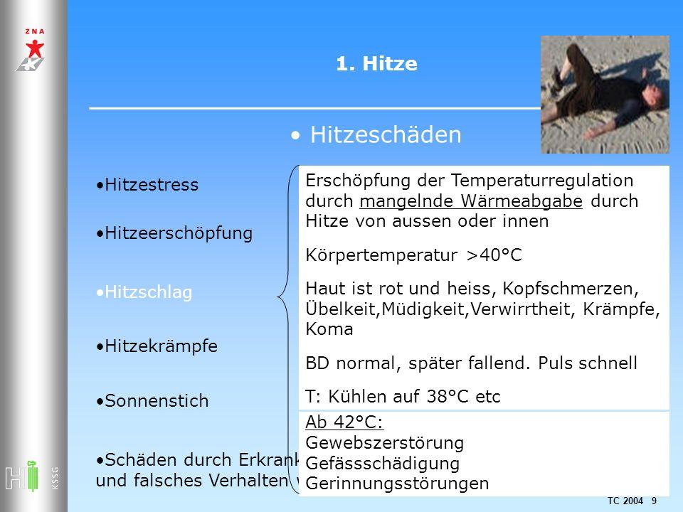 1. Hitze Hitzeschäden. Hitzestress. Erschöpfung der Temperaturregulation durch mangelnde Wärmeabgabe durch Hitze von aussen oder innen.