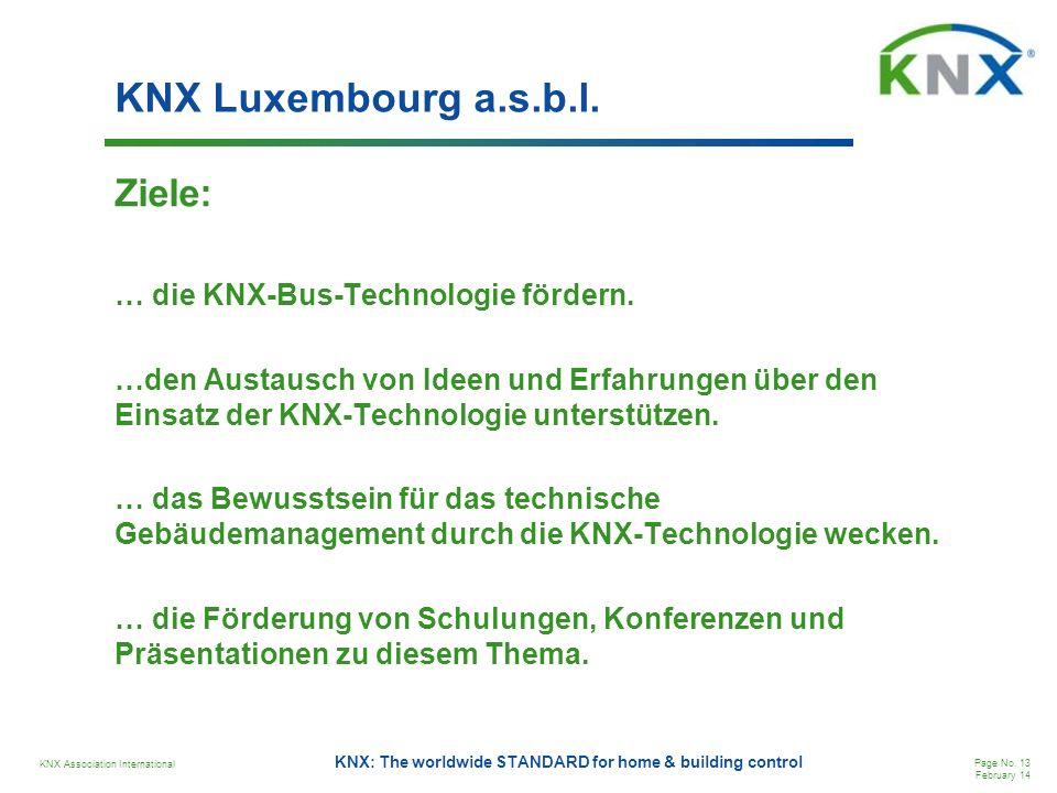 KNX Luxembourg a.s.b.l. Ziele: … die KNX-Bus-Technologie fördern.