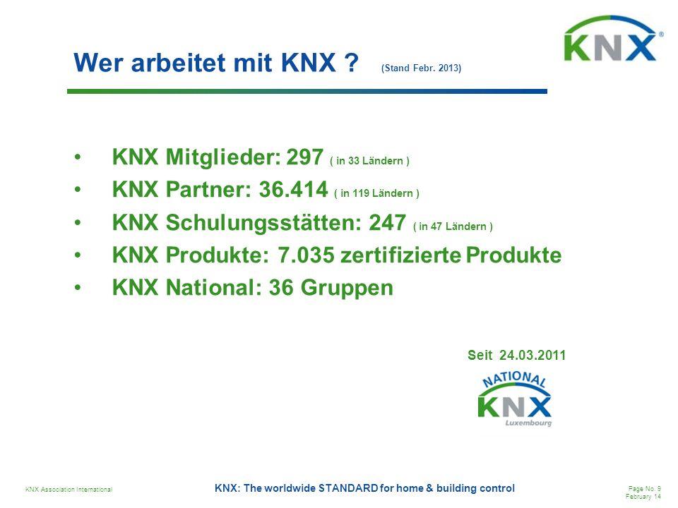 Wer arbeitet mit KNX (Stand Febr. 2013)