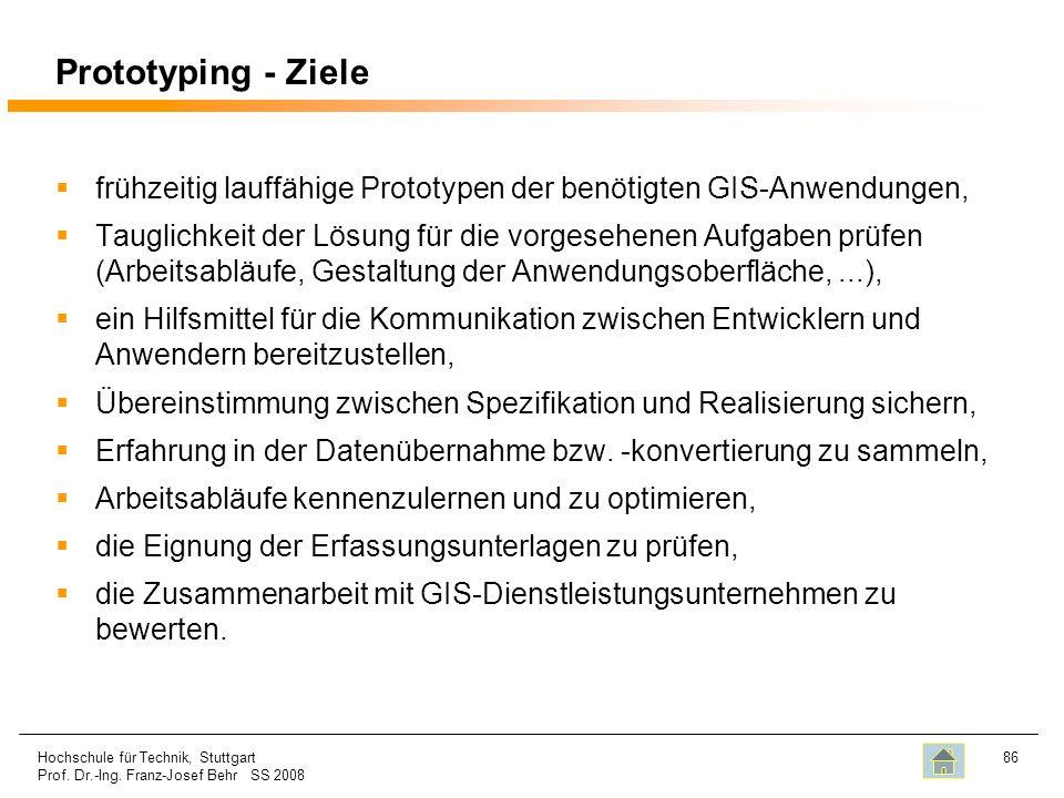 Prototyping - Ziele frühzeitig lauffähige Prototypen der benötigten GIS-Anwendungen,