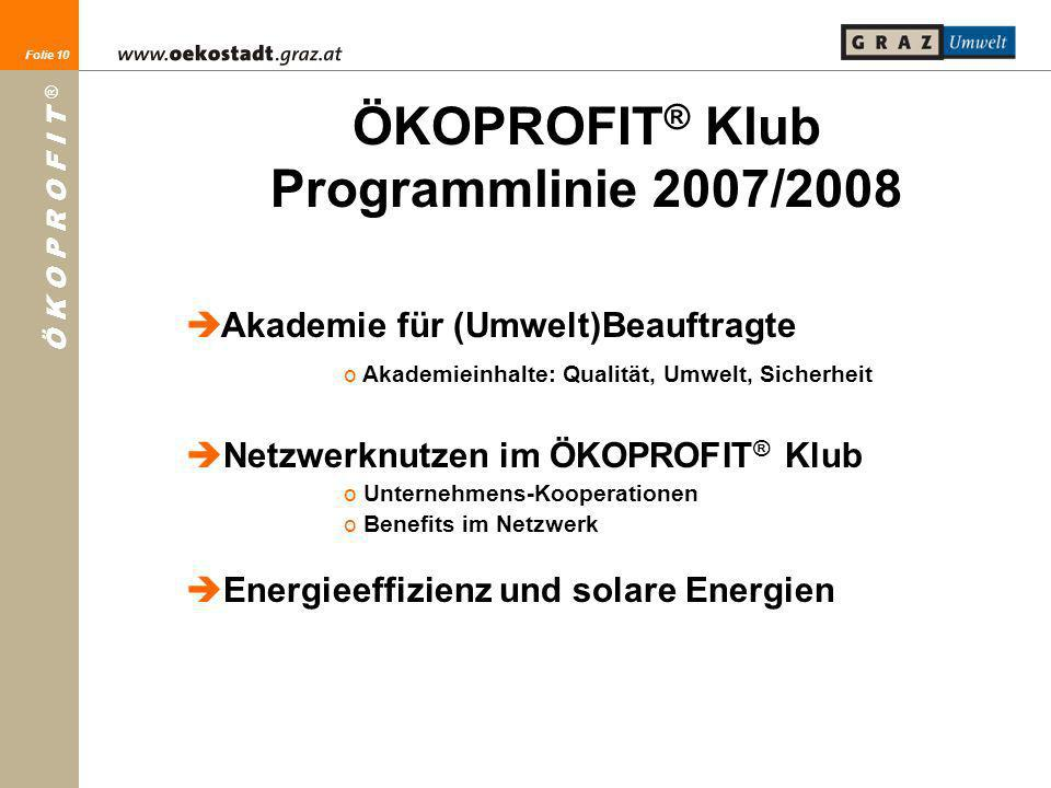 ÖKOPROFIT® Klub Programmlinie 2007/2008