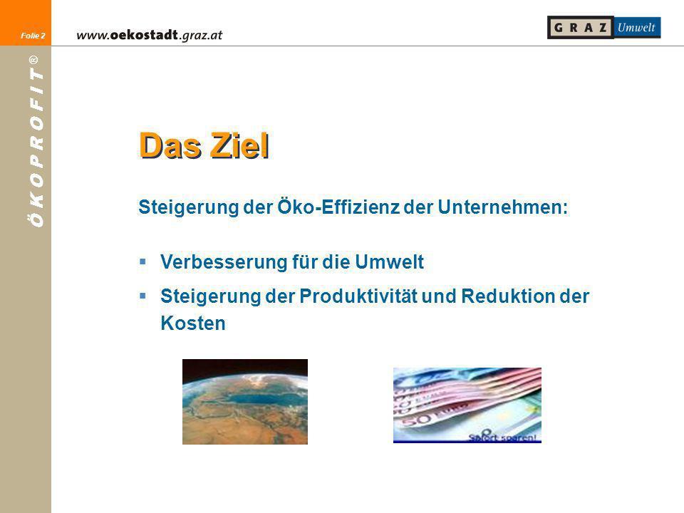 Das Ziel Steigerung der Öko-Effizienz der Unternehmen: