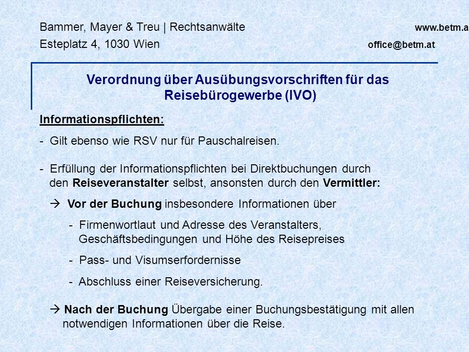 Verordnung über Ausübungsvorschriften für das Reisebürogewerbe (IVO)