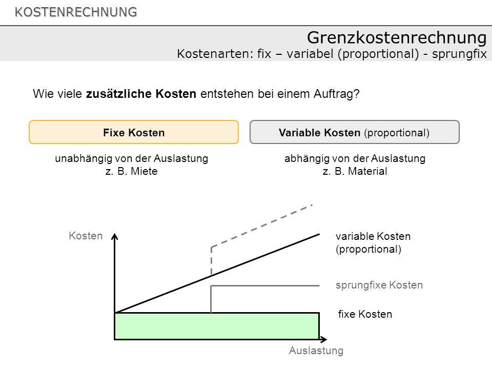 Grenzkostenrechnung Kostenarten: fix – variabel (proportional) - sprungfix