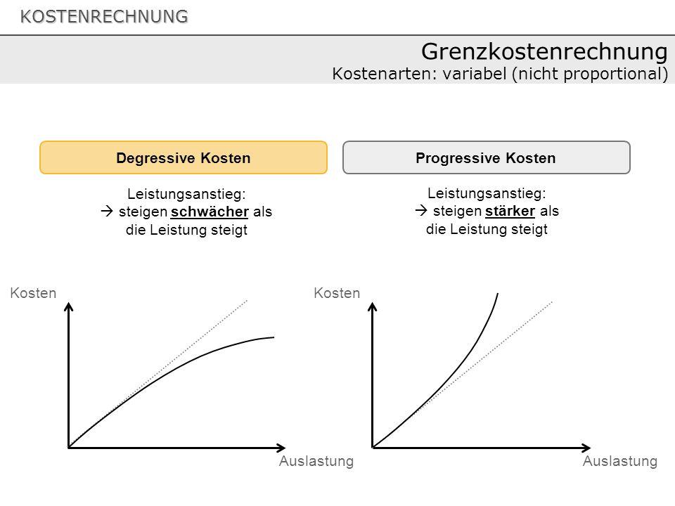 Grenzkostenrechnung Kostenarten: variabel (nicht proportional)