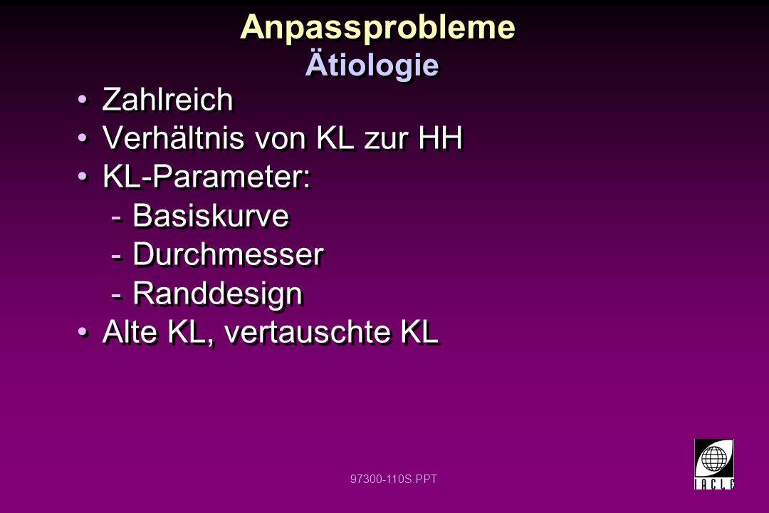 Anpassprobleme Zahlreich Verhältnis von KL zur HH KL-Parameter:
