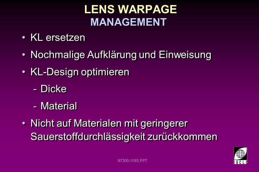 LENS WARPAGE MANAGEMENT KL ersetzen