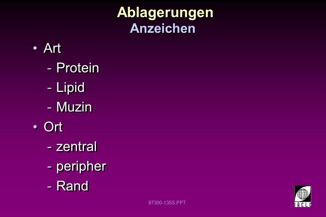 Ablagerungen Art Protein Lipid Muzin Ort zentral peripher Rand