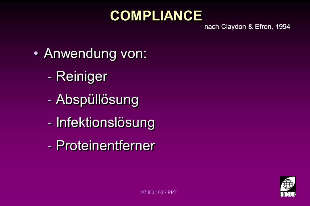 COMPLIANCE Anwendung von: Reiniger Abspüllösung Infektionslösung
