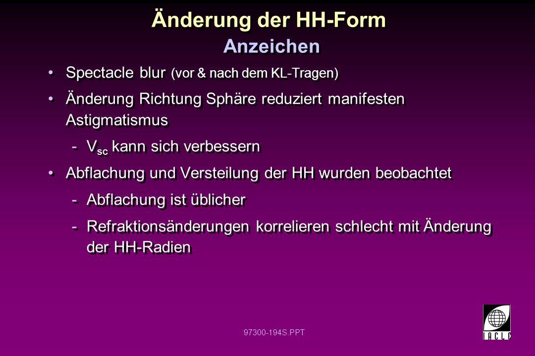 Änderung der HH-Form Anzeichen