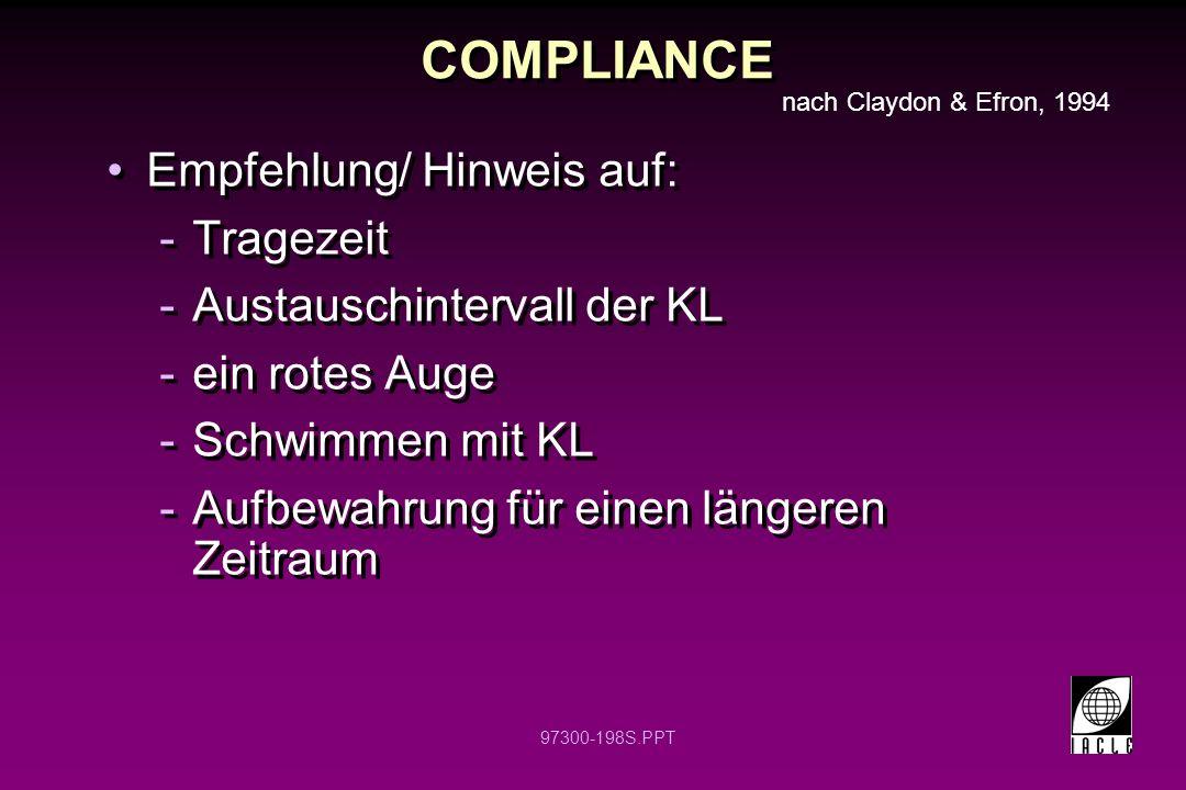 COMPLIANCE Empfehlung/ Hinweis auf: Tragezeit