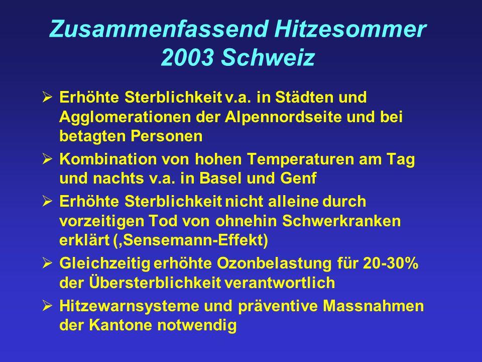 Zusammenfassend Hitzesommer 2003 Schweiz