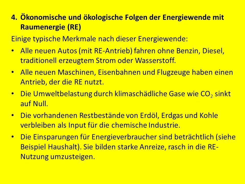 4. Ökonomische und ökologische Folgen der Energiewende mit Raumenergie (RE)