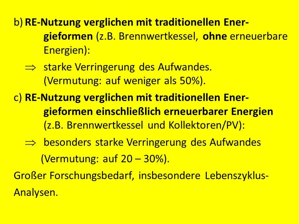 b) RE-Nutzung verglichen mit traditionellen Ener- gieformen (z. B