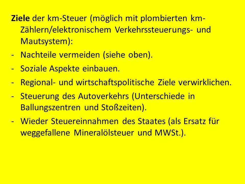 Ziele der km-Steuer (möglich mit plombierten km-Zählern/elektronischem Verkehrssteuerungs- und Mautsystem): - Nachteile vermeiden (siehe oben).
