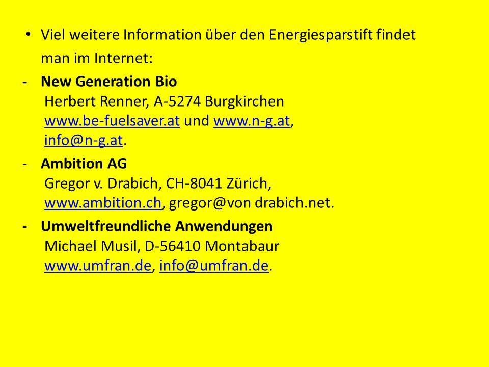 Viel weitere Information über den Energiesparstift findet