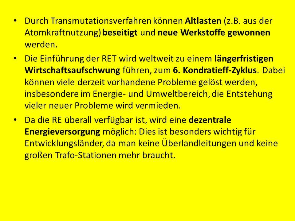 Durch Transmutationsverfahren können Altlasten (z. B