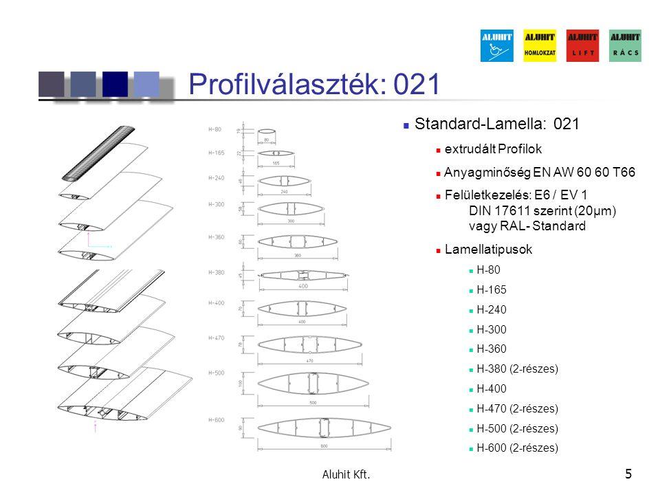 Profilválaszték: 021 Standard-Lamella: 021 extrudált Profilok