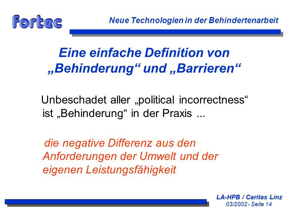 """Eine einfache Definition von """"Behinderung und """"Barrieren"""