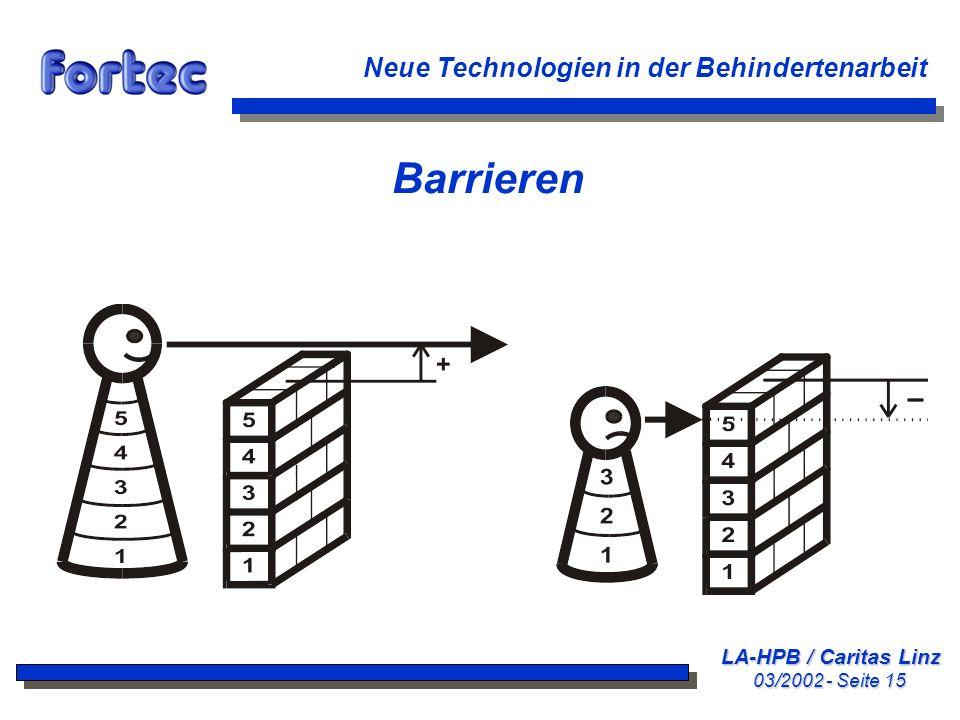 Barrieren Neue Technologien in der Behindertenarbeit