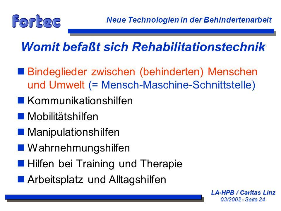 Womit befaßt sich Rehabilitationstechnik