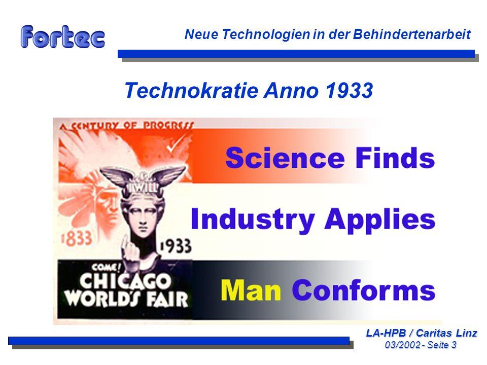 Technokratie Anno 1933 Neue Technologien in der Behindertenarbeit