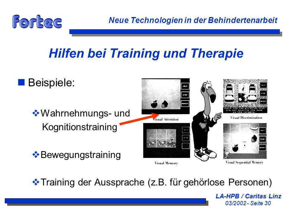 Hilfen bei Training und Therapie